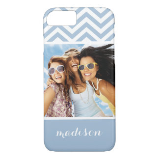 Custom Photo & Name Light Blue Chevron iPhone 8/7 Case
