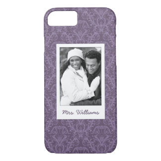 Custom Photo & Name Luxury Purple Wallpaper iPhone 8/7 Case