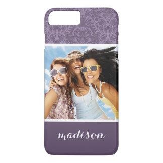 Custom Photo & Name Luxury Purple Wallpaper iPhone 8 Plus/7 Plus Case