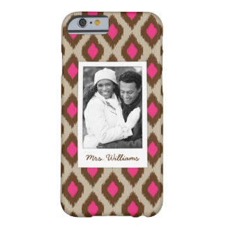Custom Photo & Name Modern ikat pattern Barely There iPhone 6 Case