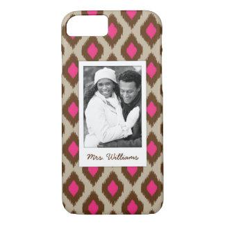 Custom Photo & Name Modern ikat pattern iPhone 8/7 Case