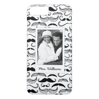 Custom Photo & Name Mustache pattern 2 iPhone 8 Plus/7 Plus Case