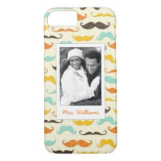 Custom Photo & Name Mustache pattern 3 iPhone 8/7 Case