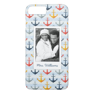 Custom Photo & Name Nautical Pattern with Anchors iPhone 8 Plus/7 Plus Case