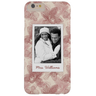 Custom Photo & Name Orchid Engraving Pattern Barely There iPhone 6 Plus Case