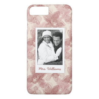 Custom Photo & Name Orchid Engraving Pattern iPhone 8 Plus/7 Plus Case