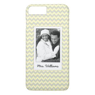 Custom Photo & Name Pastel Chevron Pattern iPhone 8 Plus/7 Plus Case
