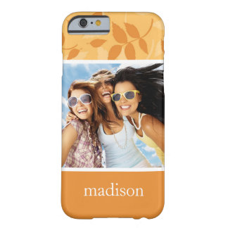 Custom Photo & Name Pattern with autumn leaves Barely There iPhone 6 Case