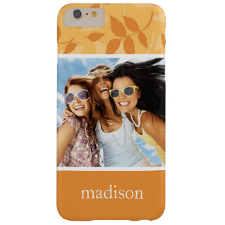 Custom Photo & Name Pattern with autumn leaves Barely There iPhone 6 Plus Case