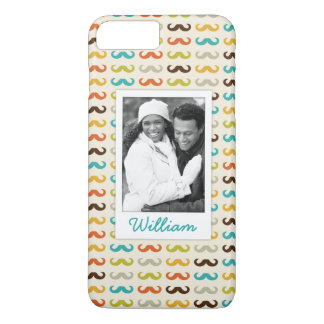Custom Photo & Name Pattern with mustache iPhone 8 Plus/7 Plus Case