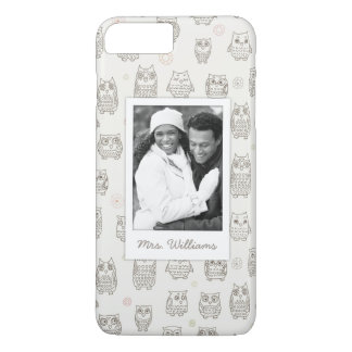 Custom Photo & Name Pattern with owls iPhone 8 Plus/7 Plus Case