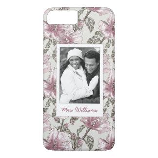 Custom Photo & Name Pink Hibiscus Flowers Pattern iPhone 8 Plus/7 Plus Case