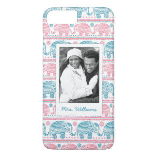 Custom Photo & Name Pink & Teal Elephant Pattern iPhone 8 Plus/7 Plus Case