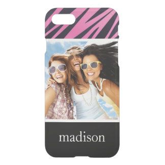 Custom Photo & Name Pink Zebra Stripe Background iPhone 8/7 Case