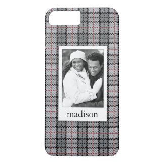 Custom Photo & Name Pixel Plaid in Grey & Red iPhone 8 Plus/7 Plus Case