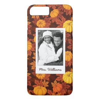 Custom Photo & Name Pumpkins & Maple Pattern iPhone 8 Plus/7 Plus Case