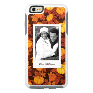 Custom Photo & Name Pumpkins & Maple Pattern OtterBox iPhone 6/6s Plus Case