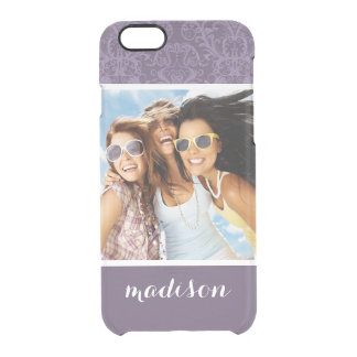 Custom Photo & Name Purple floral wallpaper 2 Clear iPhone 6/6S Case