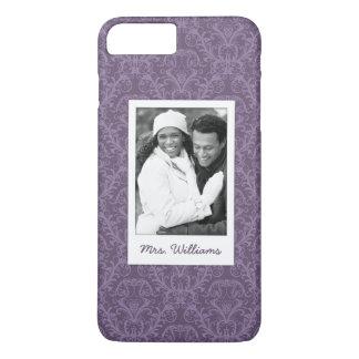 Custom Photo & Name Purple floral wallpaper 2 iPhone 8 Plus/7 Plus Case