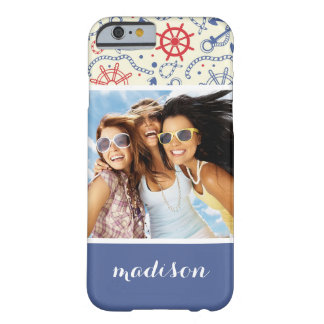 Custom Photo & Name Red and Navy with Anchor Barely There iPhone 6 Case