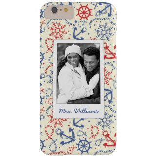 Custom Photo & Name Red and Navy with Anchor Barely There iPhone 6 Plus Case