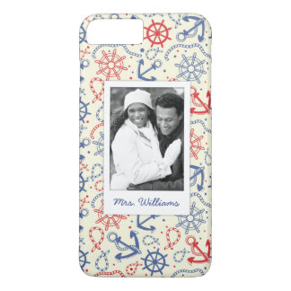 Custom Photo & Name Red and Navy with Anchor iPhone 8 Plus/7 Plus Case