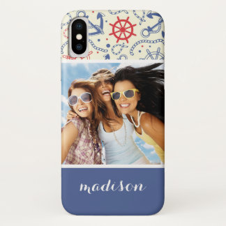 Custom Photo & Name Red and Navy with Anchor iPhone X Case