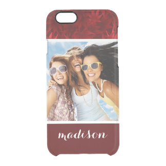 Custom Photo & Name Red maple leaves pattern Clear iPhone 6/6S Case