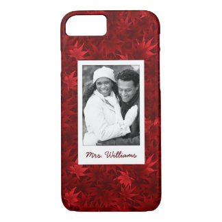 Custom Photo & Name Red maple leaves pattern iPhone 8/7 Case