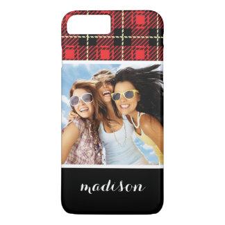 Custom Photo & Name Red Plaid Background iPhone 8 Plus/7 Plus Case