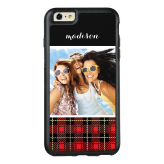 Custom Photo & Name Red Plaid Background OtterBox iPhone 6/6s Plus Case