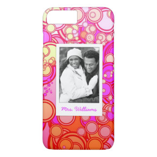 Custom Photo & Name Retro Circles iPhone 8 Plus/7 Plus Case