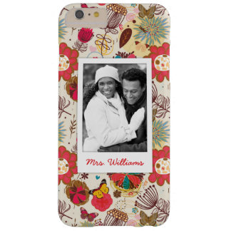 Custom Photo & Name Retro Floral Pattern 4 Barely There iPhone 6 Plus Case
