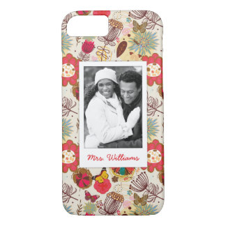 Custom Photo & Name Retro Floral Pattern 4 iPhone 8/7 Case
