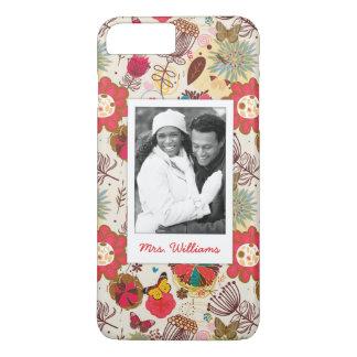 Custom Photo & Name Retro Floral Pattern 4 iPhone 8 Plus/7 Plus Case
