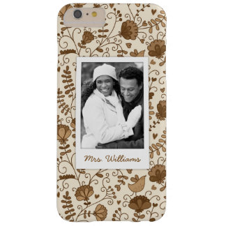Custom Photo & Name Retro floral pattern Barely There iPhone 6 Plus Case