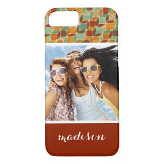 Custom Photo & Name Retro geometric pattern 4 2 iPhone 8/7 Case