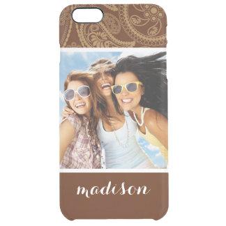 Custom Photo & Name Retro mandala pattern Clear iPhone 6 Plus Case