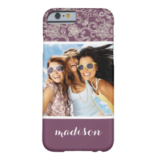Custom Photo & Name Retro pattern Barely There iPhone 6 Case