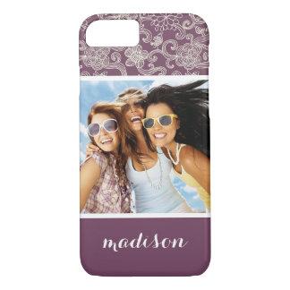 Custom Photo & Name Retro pattern iPhone 8/7 Case