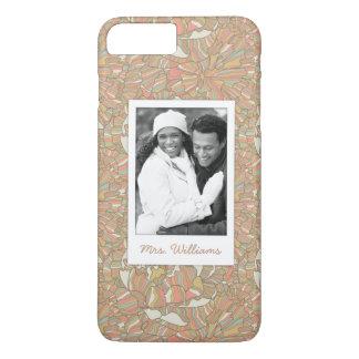 Custom Photo & Name Romantic Peony Pattern iPhone 8 Plus/7 Plus Case
