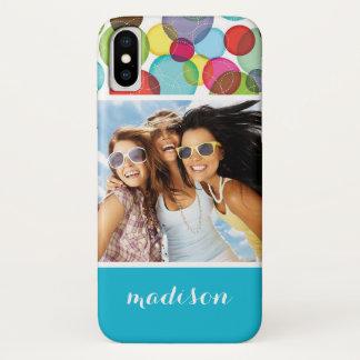 Custom Photo & Name Round bubbles kids pattern 2 iPhone X Case