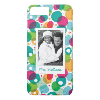 Custom Photo & Name Round bubbles kids pattern iPhone 8 Plus/7 Plus Case