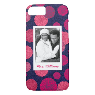Custom Photo & Name Round flowers pattern iPhone 8/7 Case