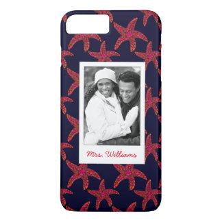 Custom Photo & Name Starfish Style Pattern iPhone 7 Plus Case