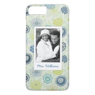 Custom Photo & Name Stylish Floral Pattern iPhone 8 Plus/7 Plus Case
