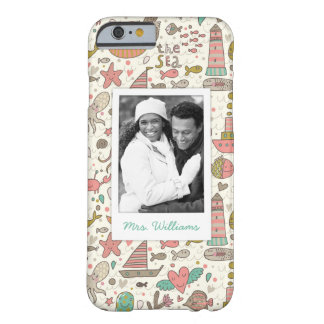 Custom Photo & Name Summer Ships Pattern Barely There iPhone 6 Case