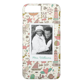 Custom Photo & Name Summer Ships Pattern iPhone 8 Plus/7 Plus Case