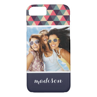 Custom Photo & Name Teal And Pink Triangle Pattern iPhone 8/7 Case