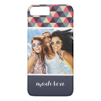 Custom Photo & Name Teal And Pink Triangle Pattern iPhone 8 Plus/7 Plus Case